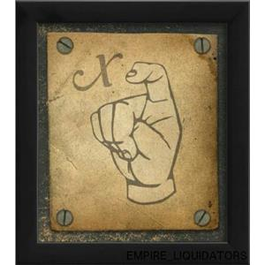 "UNUSED The Artwork Factory Ready-to-hang 9"" X 8"" Sign Language X Framed Print -A"