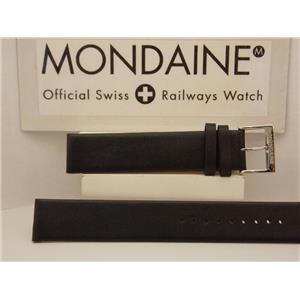 Mondaine Swiss Railways Watch Band FE312020QXL 20mm Black Leather Extra Long