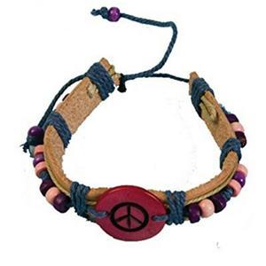 Groovy Stylin Hippie Rope Handmade Beaded Bracelet Peace Sign