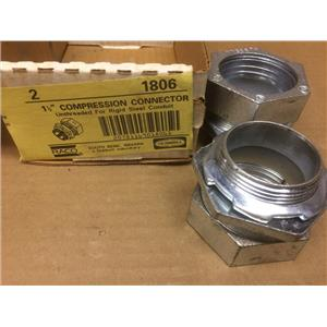 """(Lot of 2) Hubbell 1-1/2"""" Compression Connector 1806 Unthreaded"""