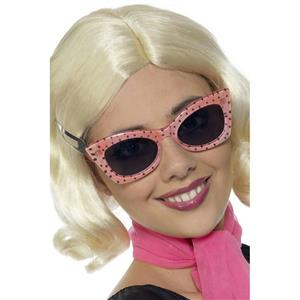 Pink 50's Style Frames Glasses with Black Polka Dots and Tinted Lenses