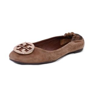 9.5 Tory Burch Park Bench Brown/Bronze Reva Softy Suede Ballet Flat WORN ONCE