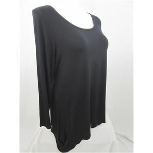 LOGO by Lori Goldstein Size 1X Regular Hi-Low Hem Black LS Tunic 229356