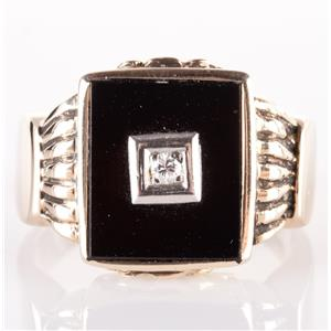 Men's Vintage 1960's 10k Yellow Gold Round Cut Diamond & Onyx Ring .05ct