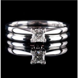 14k White Gold Princess Cut Diamond Solitaire Engagement Wedding Ring Set .175ct