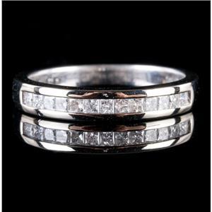 14k White Gold Square Cut Diamond Wedding / Anniversary Band .26ctw
