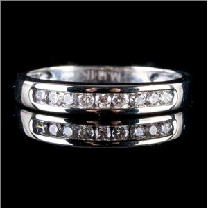 14k White Gold Round Cut Diamond Wedding / Anniversary Band .23ctw