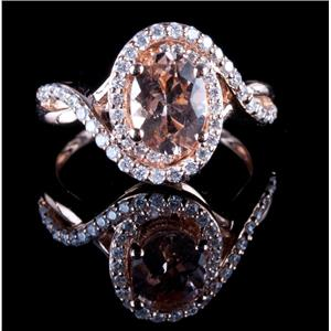 14k Rose Gold Oval Cut Morganite & Diamond Cocktail Wrap Ring 1.46ctw