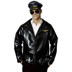 Adult Black Costume Airline Captain Pilot Faux Leather Jacket Wing Patch Belt