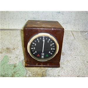 Boaters' Resale Shop of TX 1701 0421.15 VDO ENGINE RPM SYNC DISPLAY IN TEAK BOX