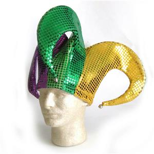 Shiny Sequin Mardi Gras Fat Tuesday Jester Hat with Bells