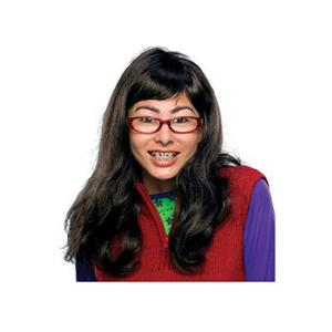 I'm Beautiful Ugly Betty Long Brown Wig Glasses Teeth with Braces Accessory Kit