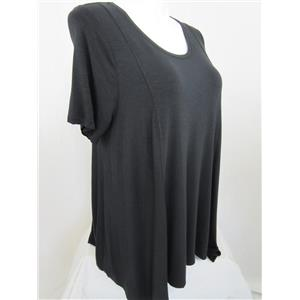 LOGO by Lori Goldstein Size 2X Slub Knit Asymmetrical Hem Top in Black