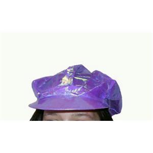 Purple Shiny Iridescent Vinyl Go Go Girl 60s 70s Cap Costume Hat