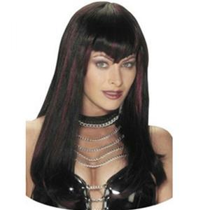 Black and Burgundy Hot Streak Sexy Vampire Dominatrix Long Sleek Wig with Bangs