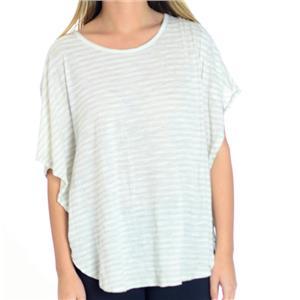 Sz S BCBGMaxazaria Gray and White Striped Dolman Sleeve Jersey Knit Tee Shirt