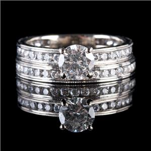 14k White Gold Round Cut Diamond Solitaire Engagement / Wedding Ring Set 1.67ctw