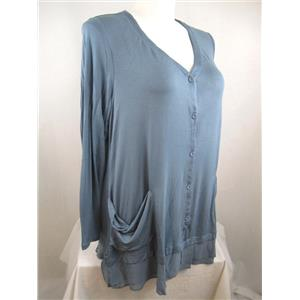 LOGO by Lori Goldstein Size S Cove Blue Knit Rayon Cardigan with Chiffon Detail