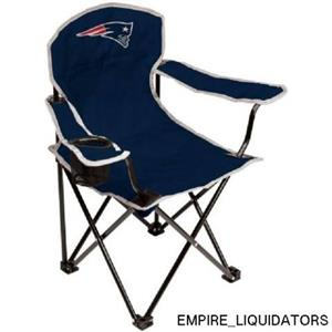 Lot of 2 Youth New England Patriots Coleman Navy Lawn Chairs w/ Storage Bags