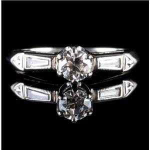 Vintage 1940's 14k White Gold Round Cut Diamond Solitaire Engagement Ring .47ctw