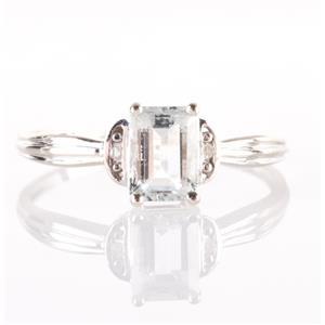 10k White Gold Emerald Cut Aquamarine & Diamond Solitaire Ring W/ Accents .82ctw