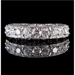 14k White Gold Round & Single Cut Diamond Wedding / Anniversary Band 1.01ctw