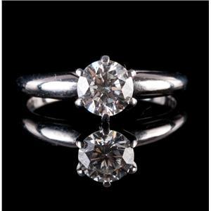 14k White Gold Round Cut Diamond Solitaire Engagement Ring W/ Diamond Cert .71ct