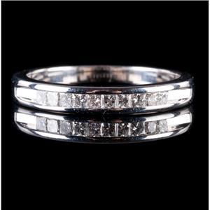 14k White Gold Princess Cut Diamond Channel Set Wedding / Anniversary Ring .3ctw