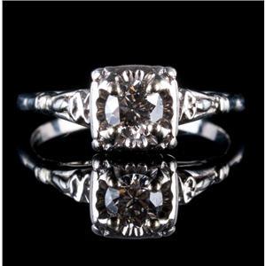 Vintage 1940's Platinum Transitional Round Cut Diamond Solitaire Engagement Ring