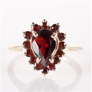 14k Yellow Gold Pear & Round Cut Mozambique Garnet Halo Ring 2.30ctw