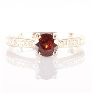 14k Yellow Gold Round Cut Garnet Solitaire Engagement Ring W/ Diamonds 1.18ctw