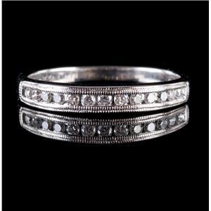 14k White Gold Round Cut Diamond Milgrain Anniversary / Wedding Band .23ctw