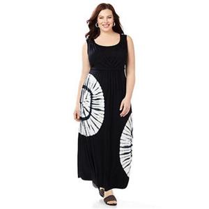 Catherines Size 2X Black Tie-Dye Rayon/Spandex Maxi Dress
