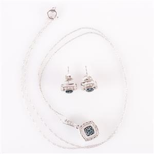 10k White Gold Blue Diamond & Diamond Cluster Earring / Necklace Set .36ctw