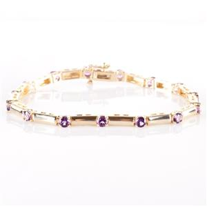"14k Yellow Gold Round Cut ""AAA"" Amethyst Link Tennis Bracelet 3.60ctw"