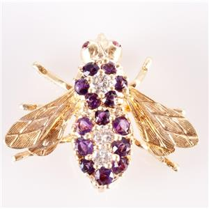 Vintage 1970's 18k Yellow Gold Amethyst Diamond Ruby Rosenthal Bee Brooch .78ctw