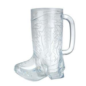 Clear Plastic Western Cowboy Boot Mug Cup with Handle 12oz