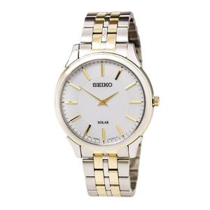Seiko Watch SUP864 Mens Solar Slimline Two Tone Gold/Silver. 25%off MSRP