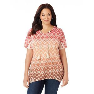 Catherines Size 0X Aztec Sunset Polyester Embellished Tassel Trimmed Top