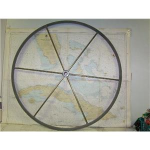 "Boaters' Resale Shop of TX 1702 0545.01 LEATHER WRAPPED 36"" SS STEERING WHEEL"