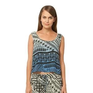 XS Gypsy 05 Minerva Printed Rayon Voile Cropped Tank Top Blue Bell Aztek Ombre