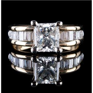 18k Yellow & White Gold Radiant Cut Diamond Engagement Ring W/ EGL Cert 1.53ctw