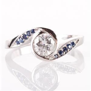 Unique Palladium Round Cut Diamond & Sapphire Bypass Engagement Ring .65ctw