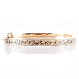 "Vintage 1910's Gold Filled Petite Etched Floral Bangle Bracelet 9.1g 6"" Length"