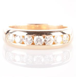 14k Yellow Gold Round Cut Channel Set Diamond Wedding / Anniversary Band .98ctw