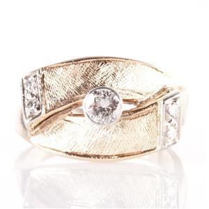 Vintage 1950's 14k Yellow Gold Round & Single Cut Diamond Band / Ring .22ctw