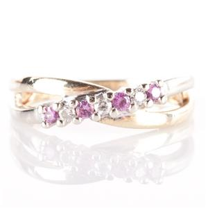 10k Yellow & White Gold Two-Tone Round Cut Pink Sapphire & Diamond Ring .29ctw