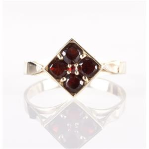 14k Yellow Gold Cushion & Rose Cut Mozambique Garnet Square Ring .95ctw