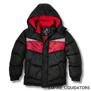 BOYS - Vertical 9 Hooded Puffer Jacket SIZE LARGE 12-14 in Black/Red w/ Tags