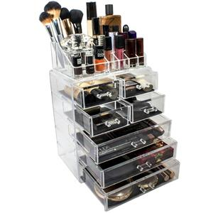 SORBUS 4 Drawer Makeup Cosmetic Organizer & Acrylic Organizer Med Acrylic Tray